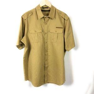 Sean John Men's Sz L Linen Blend Utility Shirt